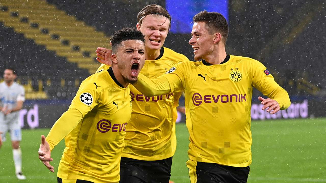 Borussia Dortmund celebrate Jadon Sancho goal vs Zenit, Champions League 2020-21