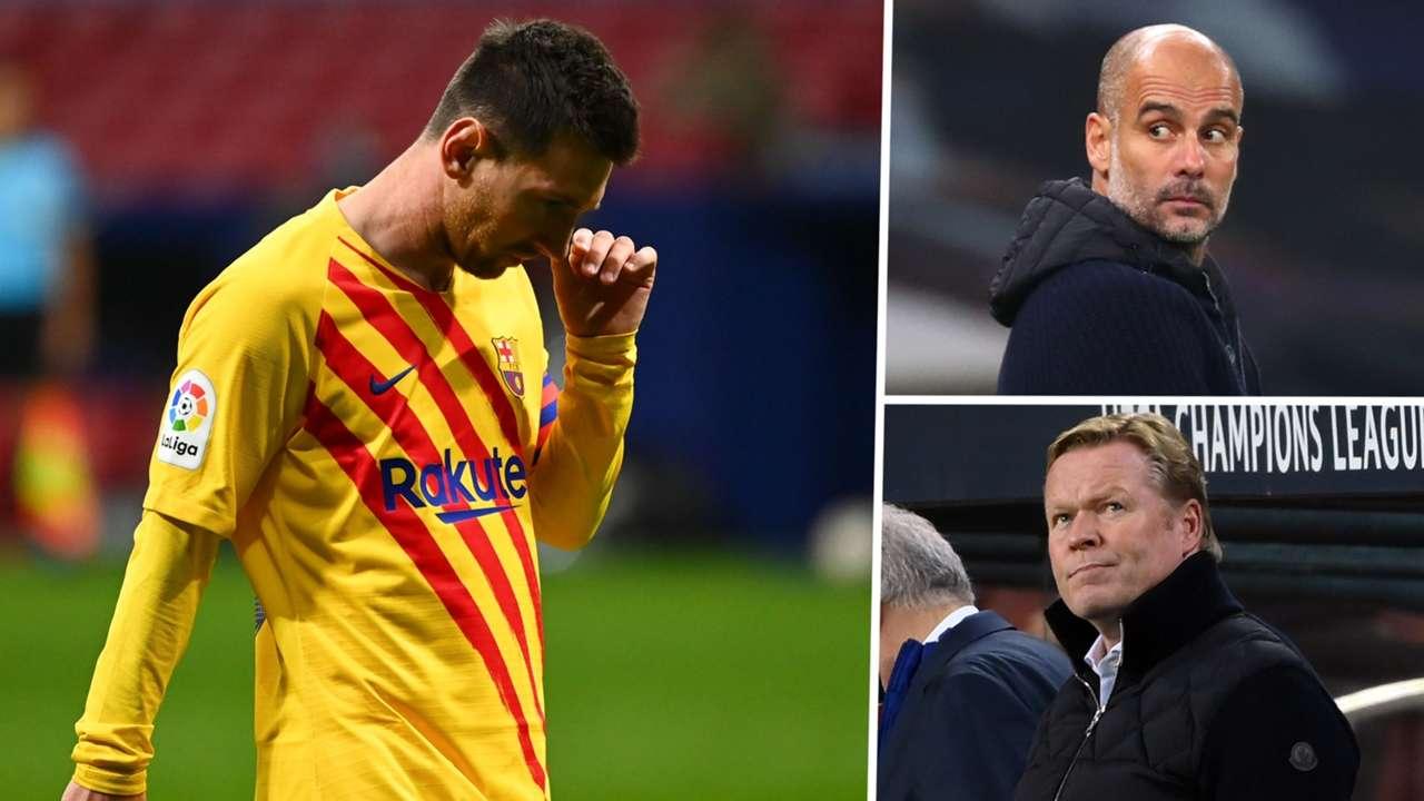 Lionel Messi Ronald Koeman Pep Guardiola Barcelona GFX