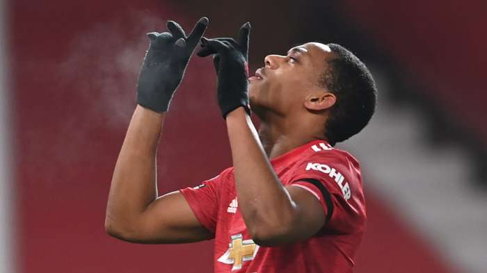 Anthony Martial Man Utd vs Aston Villa Premier League 2020-21