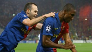 Andres Iniesta and Samuel Eto'o of Barcelona during the UEFA Champions League Final match against Manchester United on May 27, 2009