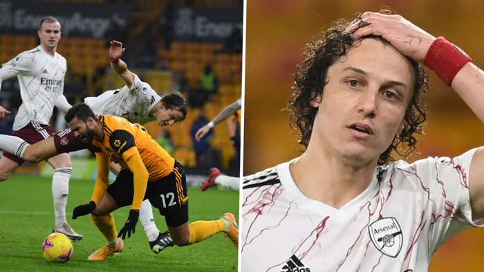 David Luiz Arsenal Wolves Red Card 2020-21