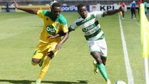JAMES SITUMA of Mathare United b COLLINS WAKHUNGU of Nzoia Sugar.