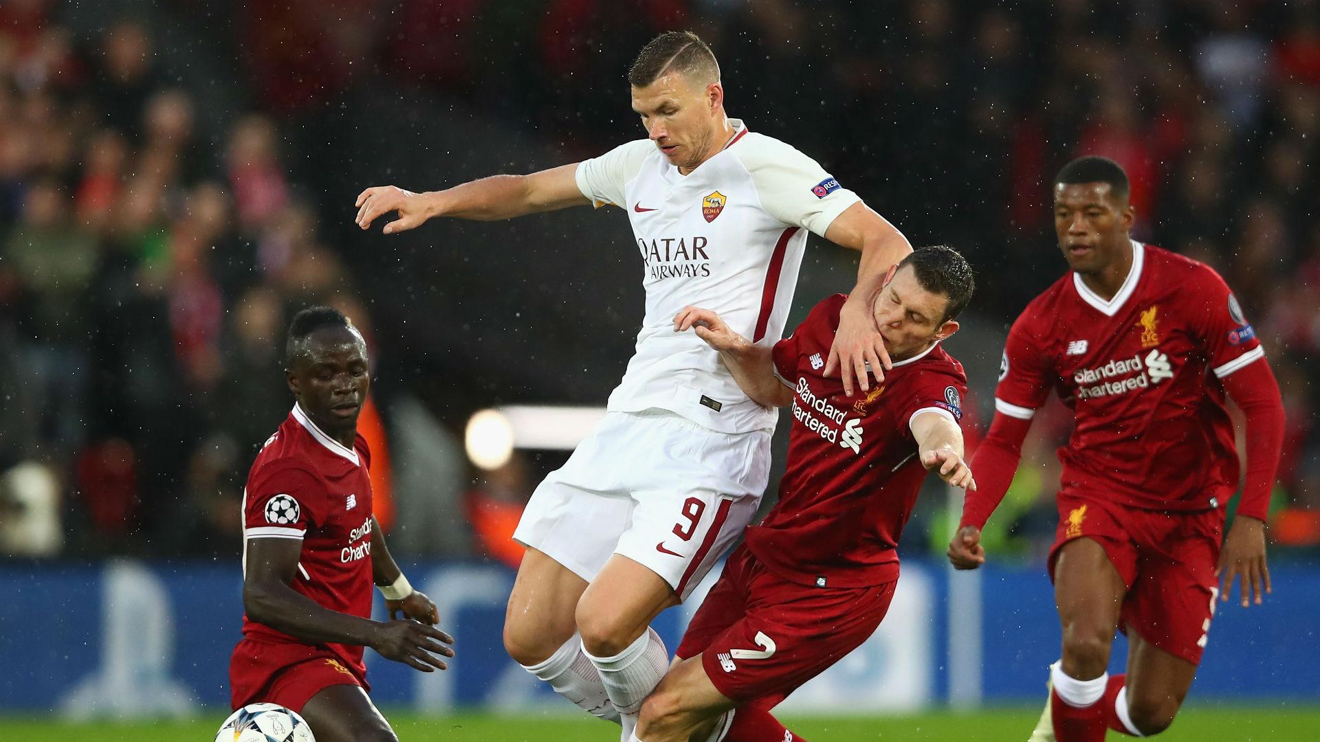 Edin Dzeko Sadio Mane James Milner Roma Liverpool Champions League