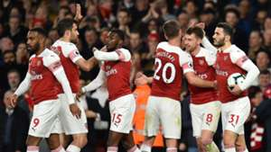 Arsenal celebrate Aaron Ramsey's goal vs Newcastle 2019