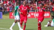 Simba SC striker Chris Mugalu and Luis Miquissone and Kagera Sugar.