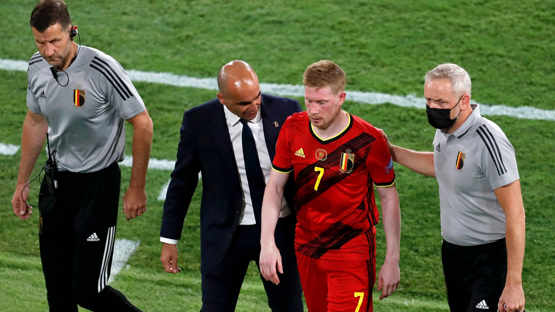 De Bruyne limps out of Belgium's Euro 2020 clash with Portugal