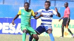 Cavin Odongo of Kariobangi Sharks tackle Sammy Ndungu of AFC Leopards