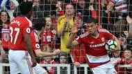 Rudy Gestede Middlesbrough celebrate v Man United