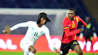 Fonsinho of Ivory Coast and Taddeo Lwanga of Uganda CHAN 2018
