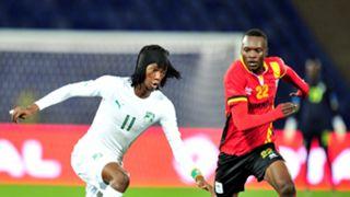 Fonsinho of Ivory Coast and Taddeo Lwanga of Uganda CHAN 2018