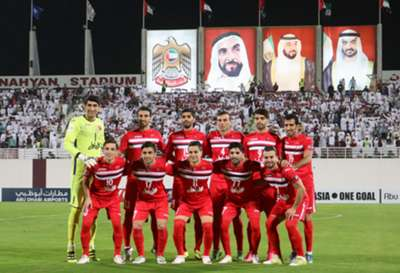 Persepolis's players pose prior to the AFC Champions League qualifying football match between UAE's Al-Wahda and Iran's Persepolis