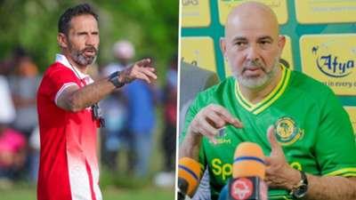 Simba SC coach Didier Gomes Da Rosa and Yanga coach Nabi.