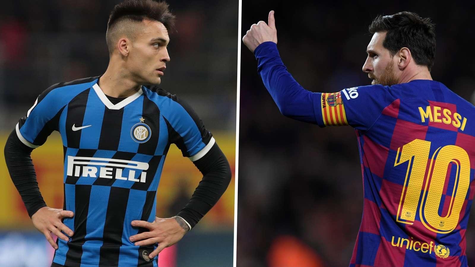 Lautaro Martinez Lionel Messi Inter Barcelona GFX