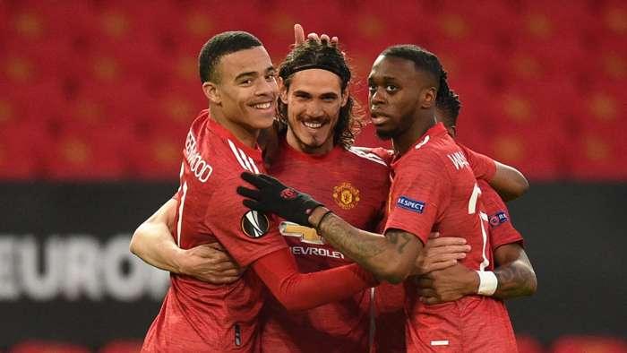 Manchester United Cavani celebrate 2021
