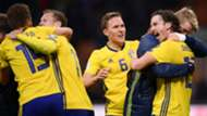 Sweden celebrating against Italy