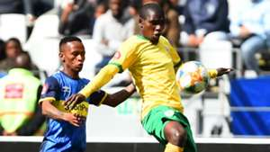 Michael Gumede of Golden Arrows controls ball from Bradley Ralani of Cape Town City, September 2019