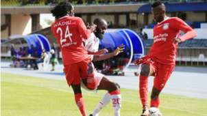 WILLIAM WADRI-BOLAJI SAKIN of Horoya AC vs HASSAN ABDALLAH of Bandari FC.