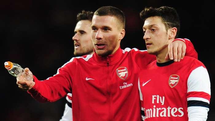 Lukas Podolski Mesut Ozil Arsenal