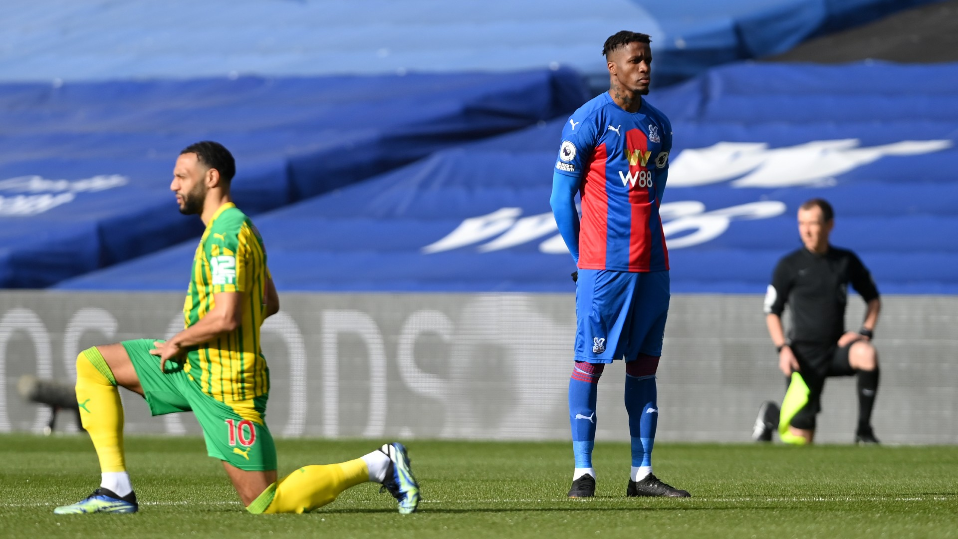Crystal Palace star Zaha becomes first Premier League player to stop taking the knee in anti-racism fight