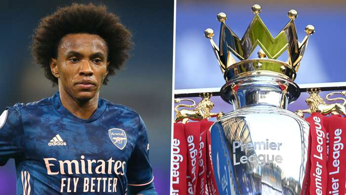 Willian Arsenal Premier League trophy 2020-21