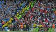 Adebayor cerebrating against Arsenal fans