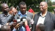 Cecafa boss Nicholas Musonye and Herbert Mwachiro of FKF.