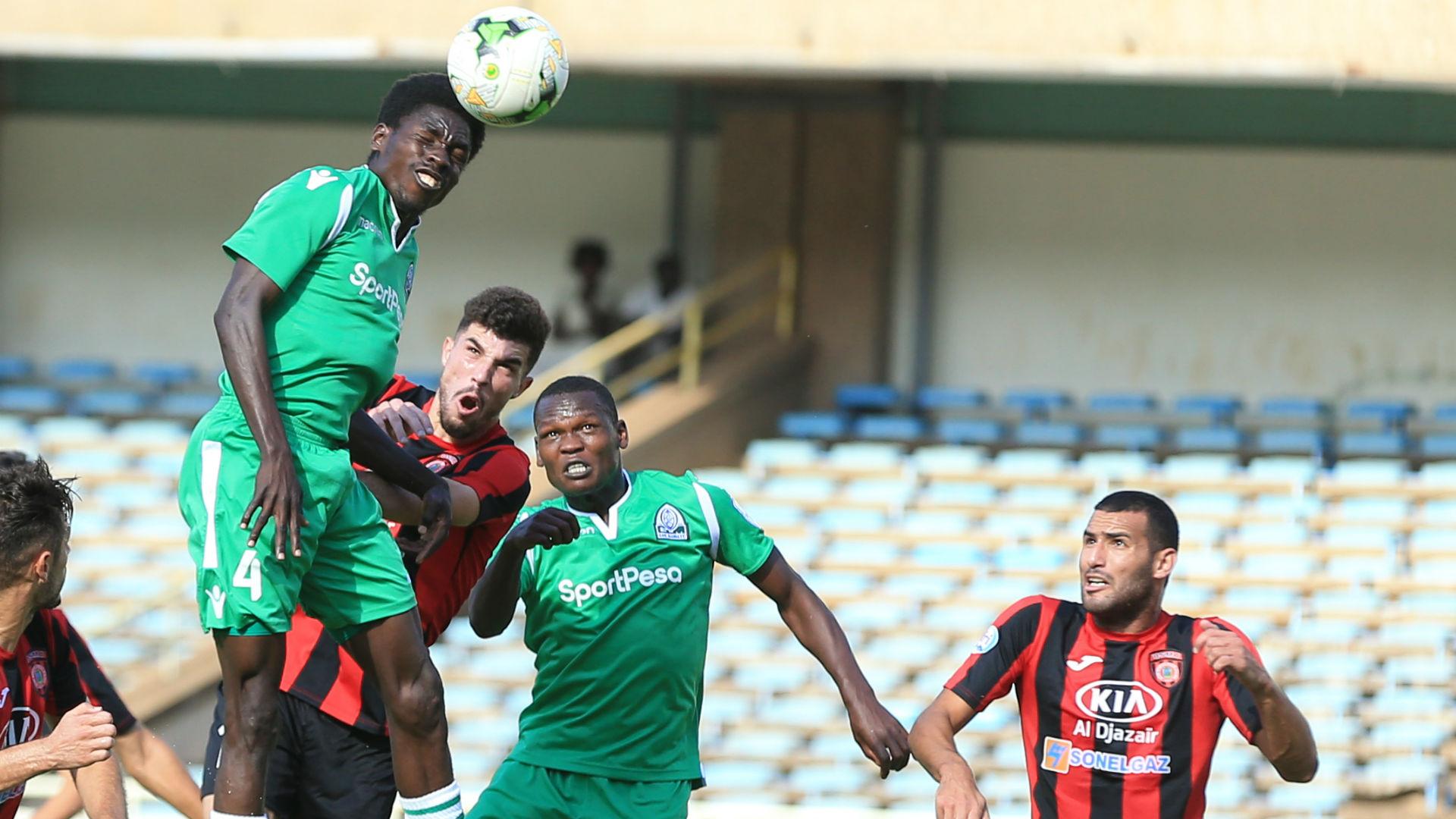 Wellington Ochieng (L) of Gor Mahia FCAimen Mahious of USM Algers Nicholas Kipkirui.