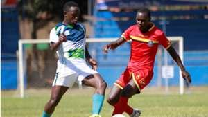 Bolton Omwenga of KCB and Jamal Mwambeleko of Mount Kenya United.