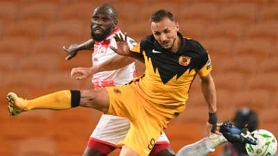 Joash Onyango of Simba SC vs Samir Nurkovic of Kaizer Chiefs.
