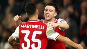 Gabriel Martinelli Kieran Tierney Arsenal 2019-20