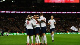 England celebrating England Italy friendly match