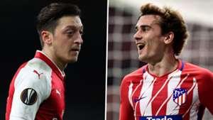 Arsenal Atletico Madrid Mesut Ozil Antoine Griezmann