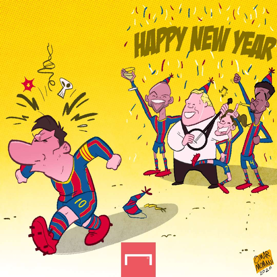 Cartoon - Messi and the new year's eve party