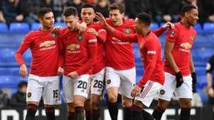 Man Utd celebrate Diogo Dalot goal vs Tranmere