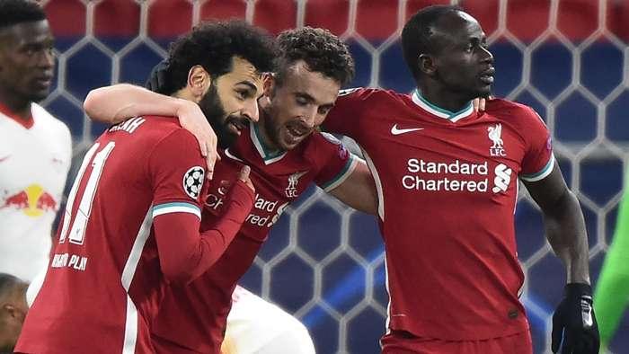 Mohamed Salah Diogo Jota Sadio Mane Liverpool 2020-21