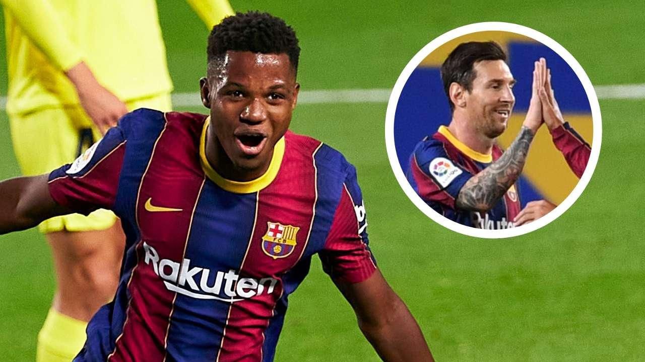 Ansu Fati Lionel Messi Barcelona GFX