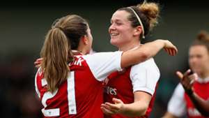 Danielle Van De Donk celebrates with Emma Mitchell Arsenal Women