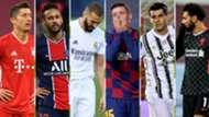 Lewandowski, Neymar, Benzema, Lenglet, Morata y Salah (Bayern, PSG, Real Madrid, Barcelona, Juventus y Liverpool)