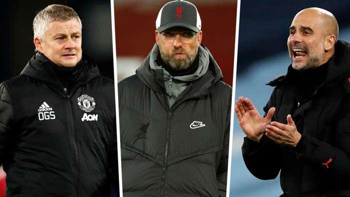 Ole Gunnar Solskjaer Jurgen Klopp Pep Guardiola Man Utd Liverpool Man City GFX