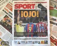 현지시간 3일 스페인 신문 스포르트 1면을 장식한 힐 만사노 주심. 사진=골닷컴 이하영 에디터