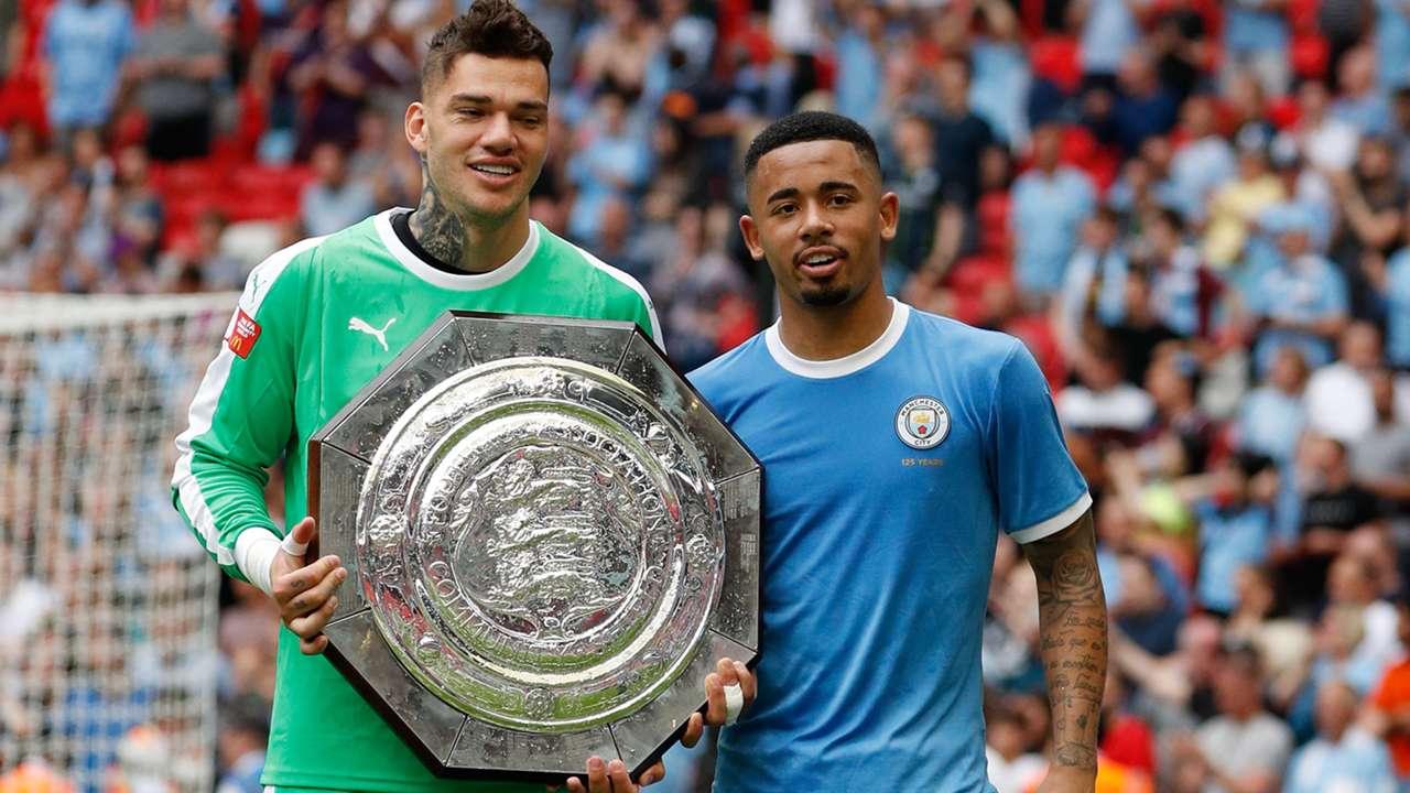 Ederson Gabriel Jesus Manchester City Community Shield trophy 2019-20