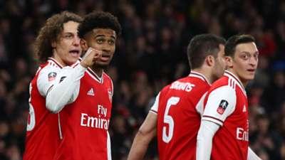 Reiss Nelson, Arsenal celebrate vs Leeds