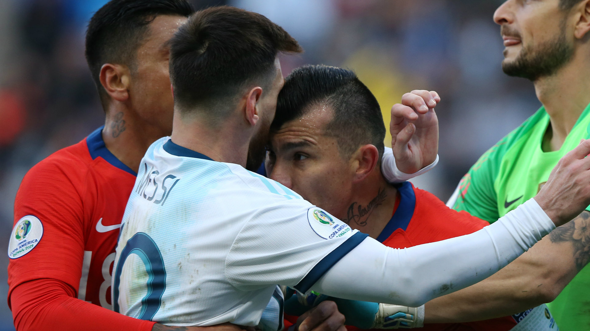 Lionel Messi Red Card I Didn T Think We D Even Get A Yellow Gary Medel Baffled By Copa America Red Cards Goal Com