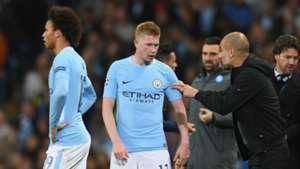Pep Guardiola Kevin De Bruyne Leroy Sane Manchester City