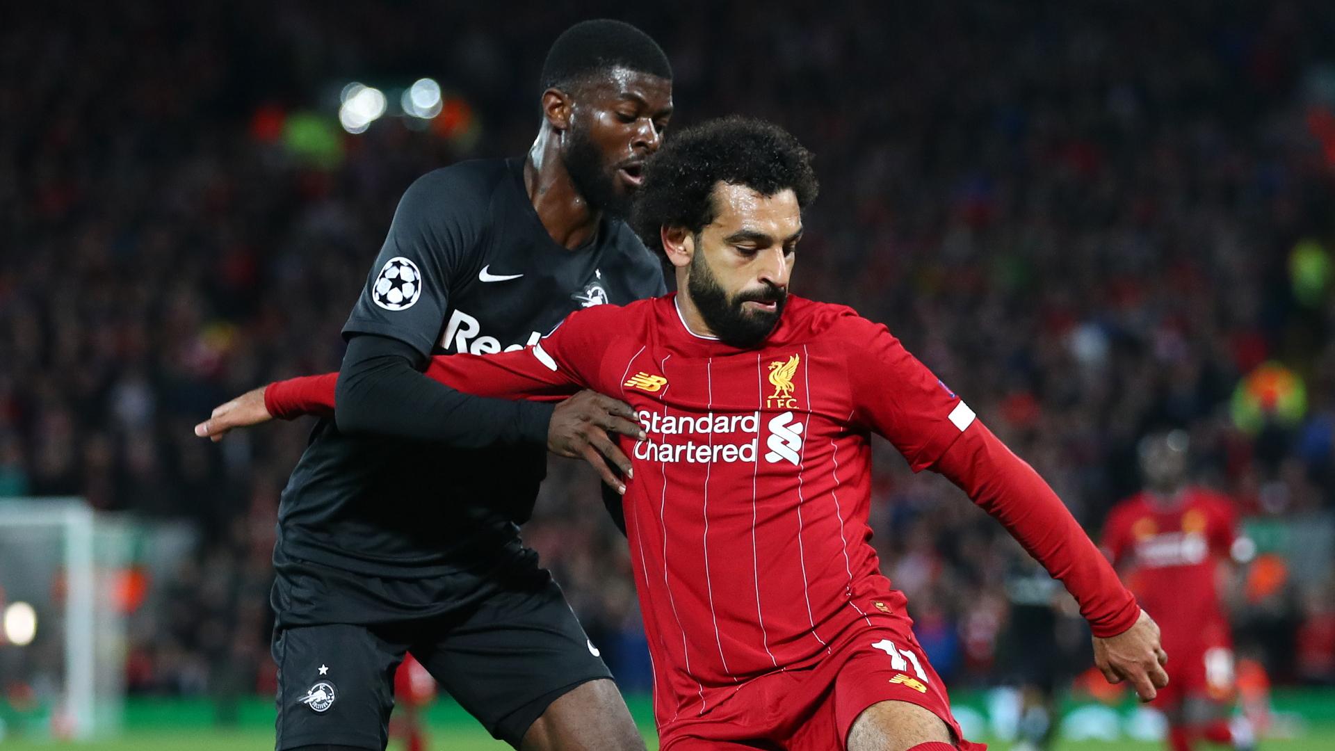 Mohamed Salah, Jerome Onguene, Liverpool vs RB Salzburg