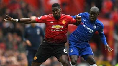 Paul Pogba N'Golo Kante Manchester United Chelsea 2018-19