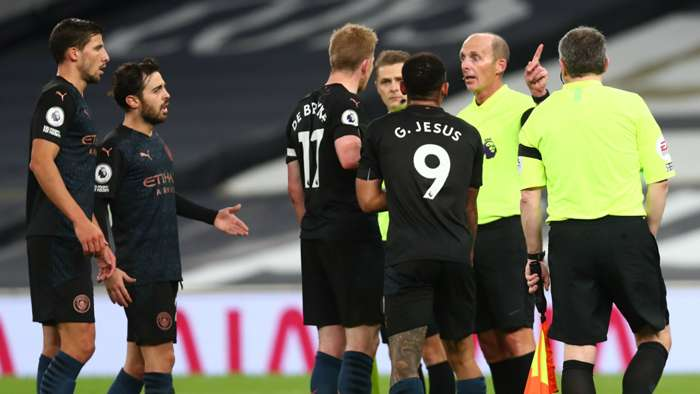 Kevin De Bruyne Gabriel Jesus Mike Dean Tottenham vs Man City Premier League 2020-21