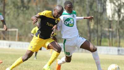 Timothy Otieno of Tusker v Johnstone Omurwa of Mathare United.