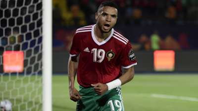 Morocco's forward Youssef En-Nesyri celebrates after scoring during the 2019 Africa Cup of Nations