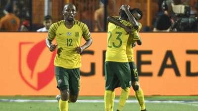 Egypt v South Africa Kamohelo Mokotjo, Percy Tau and Thembinkosi Lorch - July 2019
